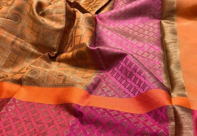 Silk Kota ₹2,450 – Calcutta, India Silk Kota with Zari weaves in Gharchola patterns…